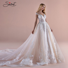 BAZIIINGAAA فستان زفاف فاخر حلم الدانتيل بأكمام طويلة فستان الزفاف مع الشارات الفاخرة الخرز دعم خياط