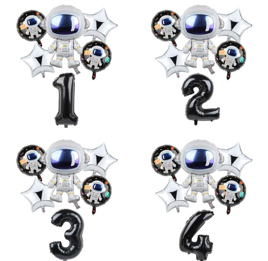 Space Party Decoration Kids Birthday Party Number Foil Balloons Set Decoration  Number Balloon Cartoon Hat