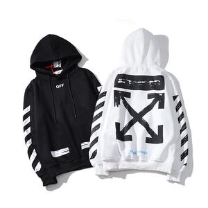 Off-White Casual Hoodie Sweatshirt Jacket Arrow Loose 19ss Stripe Lovers Winter Fashion