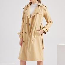 Женская ветровка xuxi осенне зимнее двубортное пальто с длинным