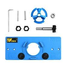 Yeni mavi 35MM fincan tarzı menteşe sıkıcı Jig matkap kılavuzu seti kapı deliği şablonu