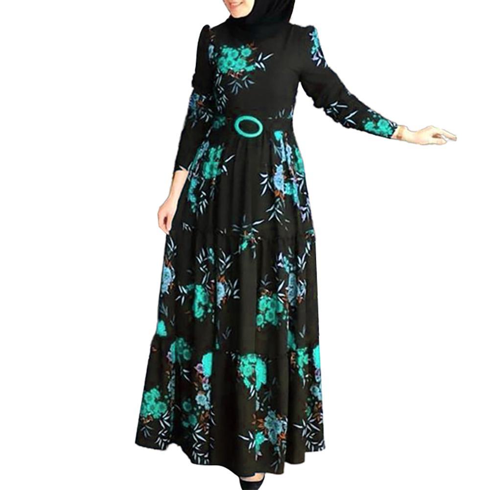 Women Dress Muslim Abaya Long Sleeve Muslim Abaya Dress Ethnic Floral Print Belt Maxi Kaftan Robe Casual Dress for church party