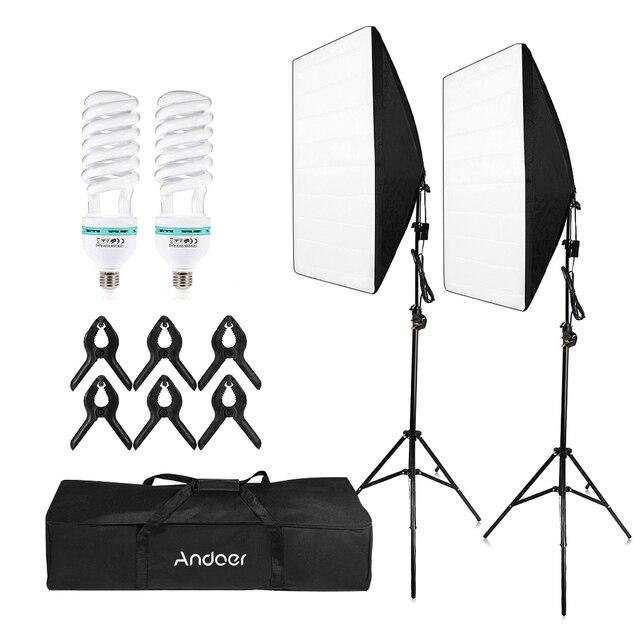 Andoer التصوير استوديو مكعب مظلة سوفتبوكس ضوء الإضاءة مجموعة أدوات الخيمة صور فيديو * حامل ثلاثي القوائم 2 * سوفتبوكس * حمل حقيبة