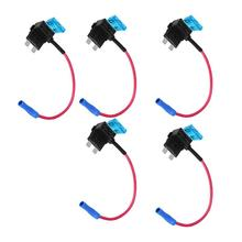 цена на 5PCS 12V Automotri Add Circuit Fuse Connector Standard Blade Fuse Holder Auto Fuse Holder Mini Blade Micro Add-A-Circuit Adapter