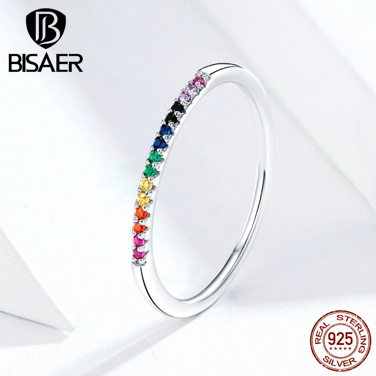 Colorful Zircon Ring BISAER On Sale 925 Sterling Silver Rainbow Zircon Ring For Women Wedding Bridal Anel Jewelry ECR583