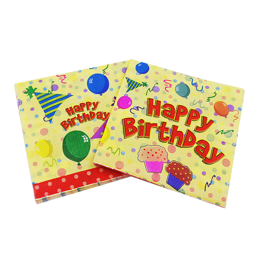 [Currently Available] Color Printed Napkin Balloon Birthday Napkin Birthday Party Paper