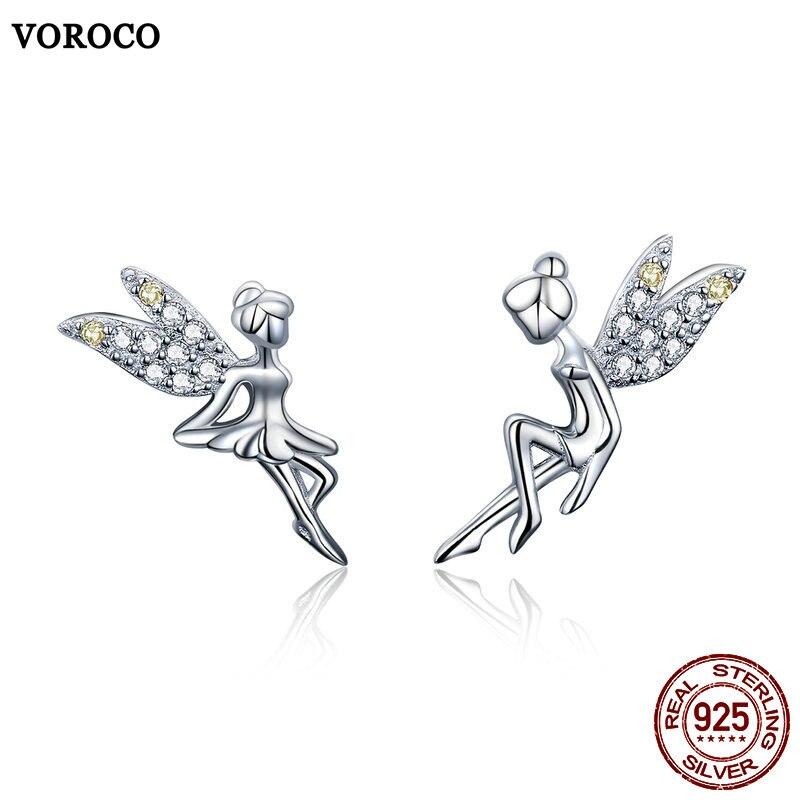 VOROCO Stud-Earrings 925-Jewelry 925-Sterling-Silver Women Wedding for 100%Real Fairy