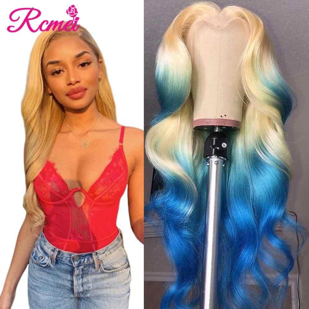 13x4 613 miód blond koronki przodu włosów ludzkich peruk wstępnie oskubane brazylijski ciało koronkowa fala przodu peruka Glueless koronki Remy peruka Rcmei