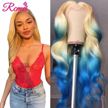 Middle Part 613 Honey Blonde Lace Front Human Hair Wigs Pre plucked Brazilian Body Wave Lace Frontal Wig 13*1 Lace Remy Wig 150% image