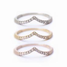 Anillo de boda curvado con circonita de oro rosa para mujer, anillo con forma de V para apilar, alianzas a juego, anillos de boda de aniversario Vintage