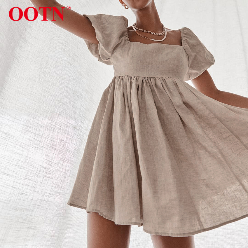 OOTN Vintage Casual Short Dress Summer Women Puff Sleeve A Line Dresses High Waist Square Collar Linen Ladies Dress Khaki 2021
