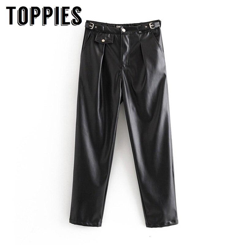 2019 Winter Warm Leather Pants Women Black Pu Trousers High Waist Moto Biker Straight Pants European High Street