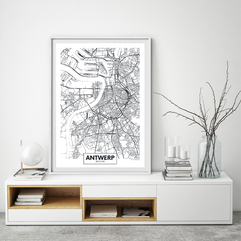 Wall Art Decor Antwerp City Map Poster Canvas Art Prints Modern Minimalist Art Painting Black and White Picture Living Room
