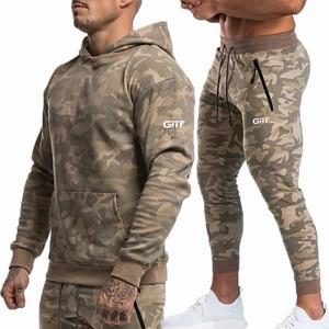 Image 2 - Sports suits Men Set Brand Fitness Suits autumn Men Set Long Sleeve Camouflage Hoodies+Pants Gyms Running Sportswear Suit