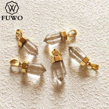 ¡Venta al por mayor! Colgante de punto de cuarzo cristalino Natural FUWO, en forma de bala dorada, curación de energía positiva, joyería de cristal de roca PD004