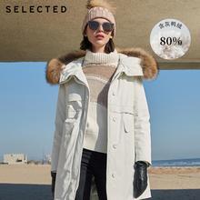 SELECTED Women's Winter Raccoon Fur Hooded Duck Down Jacket
