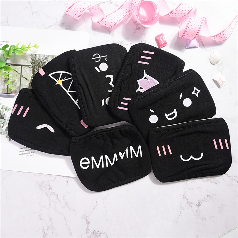 Black Kpop Mouth Mask Breathable Unisex Face Mask Reusable Anti Pollution Face Shield Wind Proof Mouth Cover