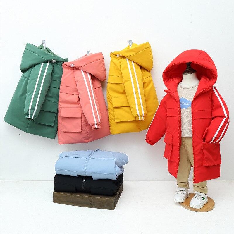 Спортивного повседневного стиля для мальчиков и девочек, детская куртка с принтом теплая куртка для мальчика Длинная зимняя детская куртка...