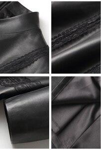 Image 4 - Ayunsue本革ジャケット秋のジャケットの女性シープスキンのコート女性ストリートロングトレンチコートヴィンテージウインドブレーカーMY4357