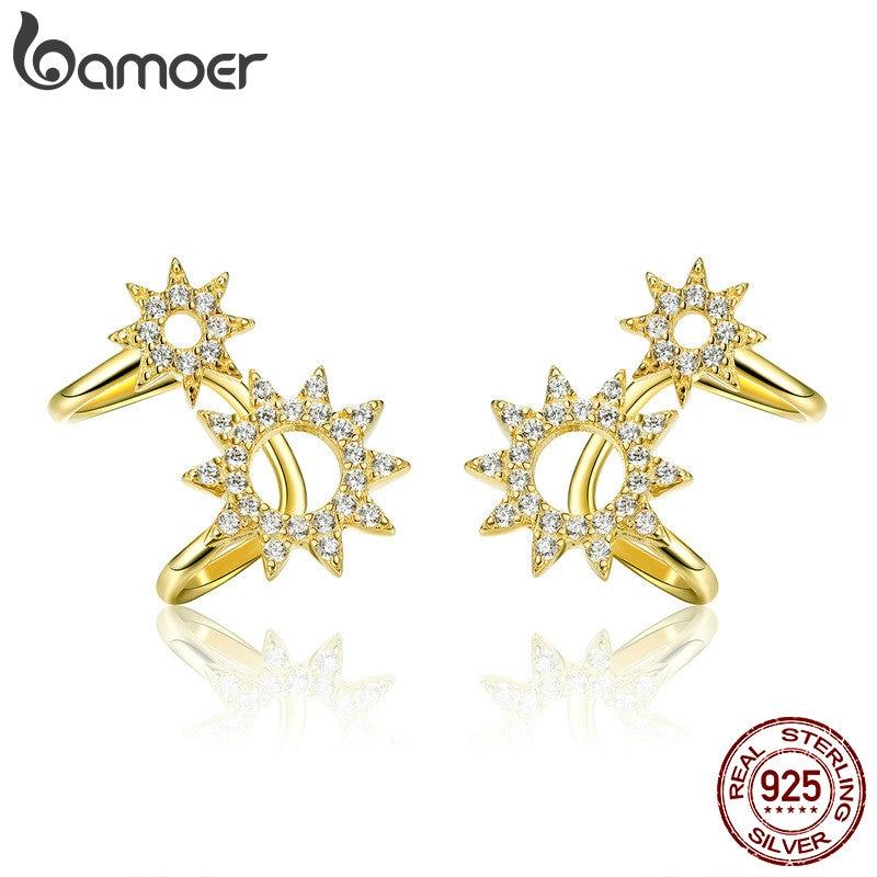 BAMOER New Collection 925 Sterling Silver Sun Shape Geometric Ears Clip For Women Dazzling CZ Sterling Silver Jewelry SCE492