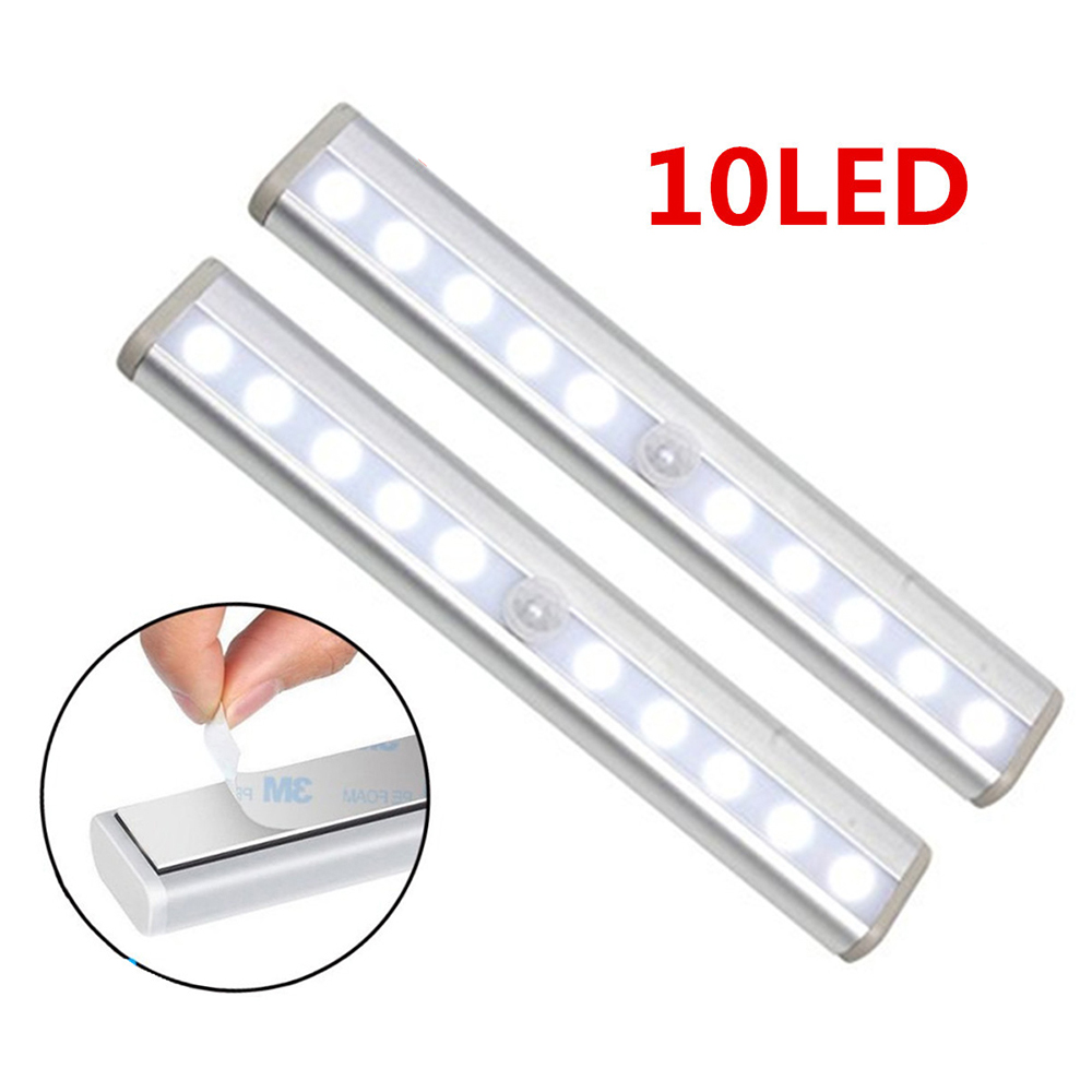 Motion Sensor LED Light Aluminium Profile 10LED Induction 5V Battery Operated Lighting For Bar/Kitchen/Cabinet/Drawer/Closet