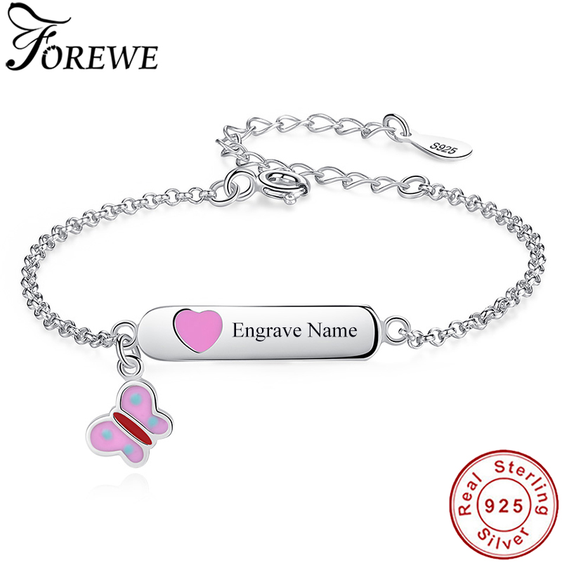 Personalized Custom Name Bracelet 925 Sterling Silver Pink Butterfly Chain Bracelet for Baby Girls Kids Jewelry Christmas Gift(China)