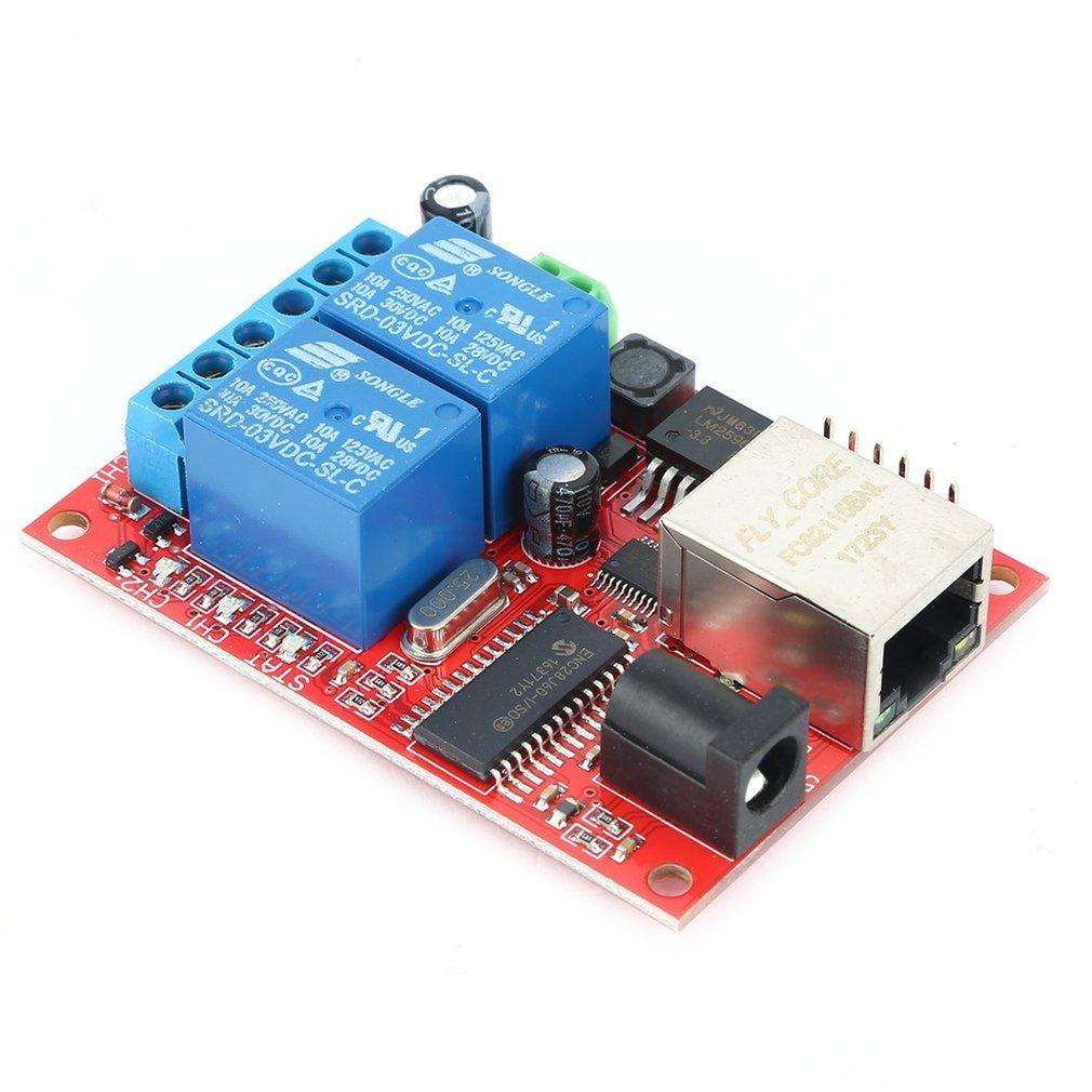 LAN Ethernet Relay Board 2 Way Delay Switch TCP / UDP Controller Module WEB Server Electronic Kit Circuit Board  70*50*20mm