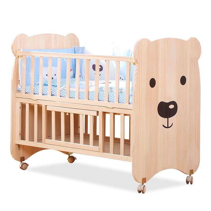 Crib solid wood unpainted baby bb multifunctional newborn cradle child stitching bed