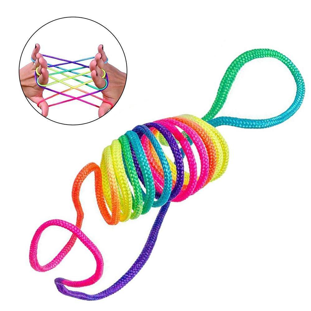 Kids Rainbow Colour Fumble Finger Thread Rope Stringes Game Developmental Toys For Children Gift Line