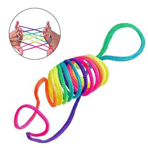 Kids Rainbow Colour Fumble Finger Thread Rope Stringes Game Developmental Toys for Children gift line