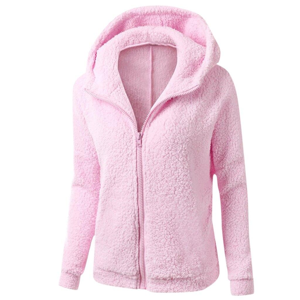 Бесплатная Страусиная зимняя теплая Женская флисовая толстовка на молнии с карманами, шерстяное хлопковое пальто на молнии, верхняя одежда...