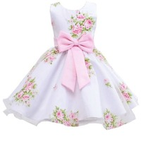Retail new style summer baby girl print flower girl dress for wedding girls party dress with bow dress for 2 8 Years LM008