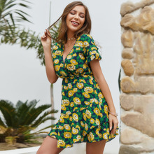 Sunflower   Print     Summer   Frill     Layers   Mini   Short   Sleeve  Lotus Sleeve    v Neck        Elastic Waist  Dress sunflower print bow tie detail frill top with shorts