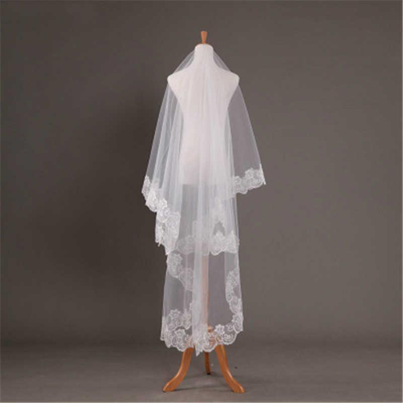 2019 בסטורק תחרה קצה ארוך רעלה חתונה שמפניה כלה רעלות 3 מטר לבן קתדרלת חתונת רעלה זול וואל דה מארי