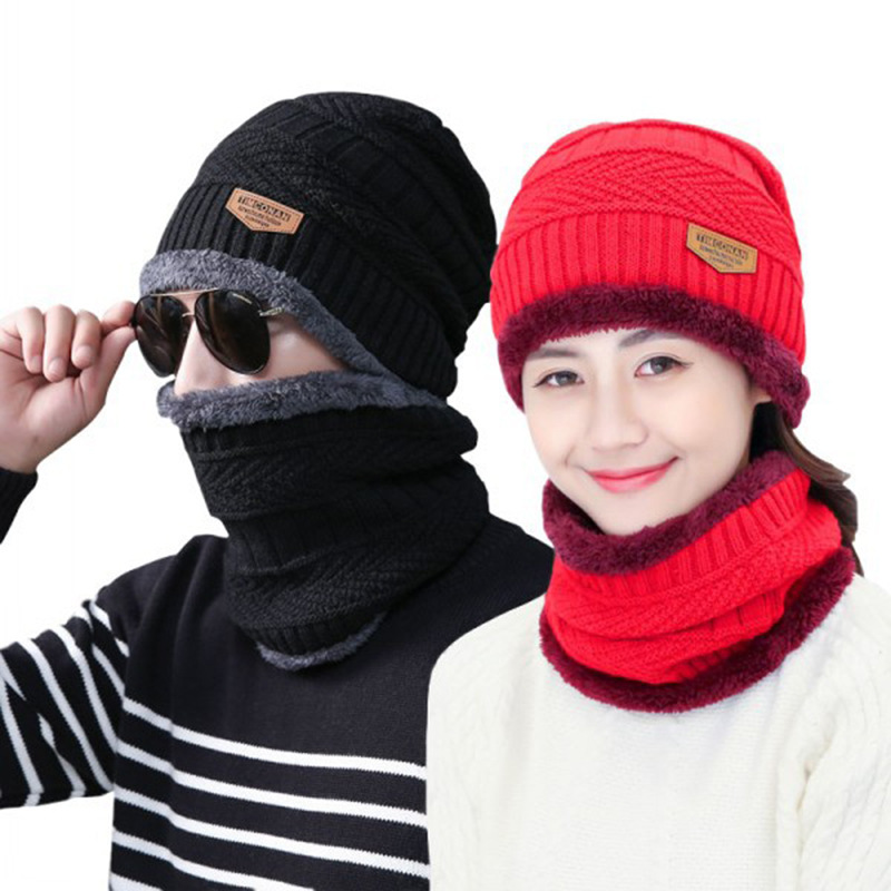 ICNWAY Welfare Autumn And Winter Wool Hat Men And Women Plus Velvet Winter Warm Knitted Hat Scarf Two-piece Wholesale