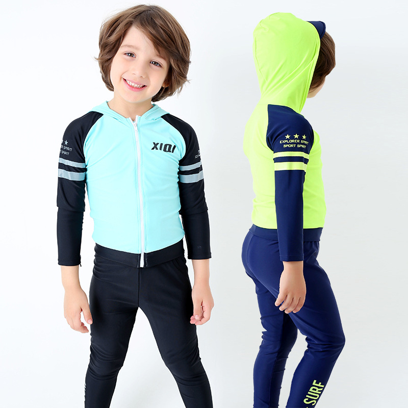 Korean-style CHILDREN'S Swimwear Children Large Children Long Sleeve Sun Protection Clothing Diving Suit Split Type Hooded Swims