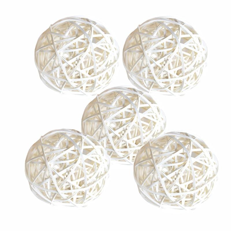 Ротанговые плетеные тростниковые шары диаметром 5 см для сада патио, свадебные, вечерние украшения, DIY для тайского стиля гирлянды - Цвет корпуса: White