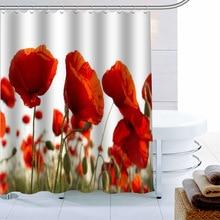 Custom Red Poppy Flower Shower Curtain Waterproof Fabric Bath Curtain 180X180cmPolyester Fabric Bathroom Curtain