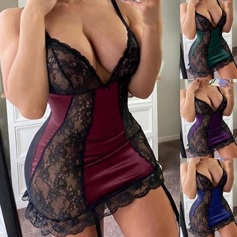 Picardías de encaje de satén Sexy para mujer, ropa interior de talla grande, lencería Sexy, vestido Porno erótico