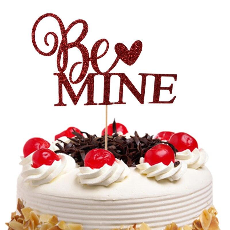 Be Mine Cupcake Topper czerwone ciasto flagi słomka papierowa na ślub urodziny na przyjęcie do tortu dekoracje do pieczenia dostarcza Xmas DIY nowy rok
