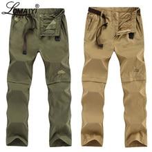LOMAIYI Plus Size męskie spodnie Cargo mężczyźni wiosna/lato odpinane czarne spodnie męskie szybkie suche spodnie męskie spodnie na co dzień człowiek AM209