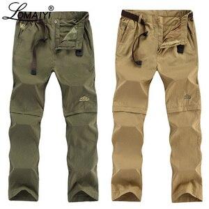 Image 1 - LOMAIYI artı boyutu erkek kargo pantolon erkekler İlkbahar/yaz çıkarılabilir siyah pantolon erkek hızlı kuru pantolon erkek rahat pantolon adam AM209