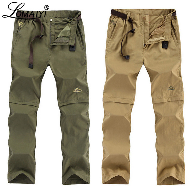 LOMAIYI artı boyutu erkek kargo pantolon erkekler İlkbahar/yaz çıkarılabilir siyah pantolon erkek hızlı kuru pantolon erkek rahat pantolon adam AM209
