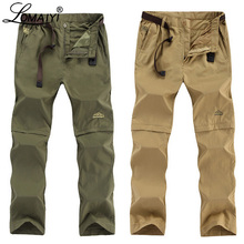 Lomaiyi calças de carga masculinas tamanho grande primavera/verão removível preto calças dos homens secagem rápida masculino calças casuais homem am209