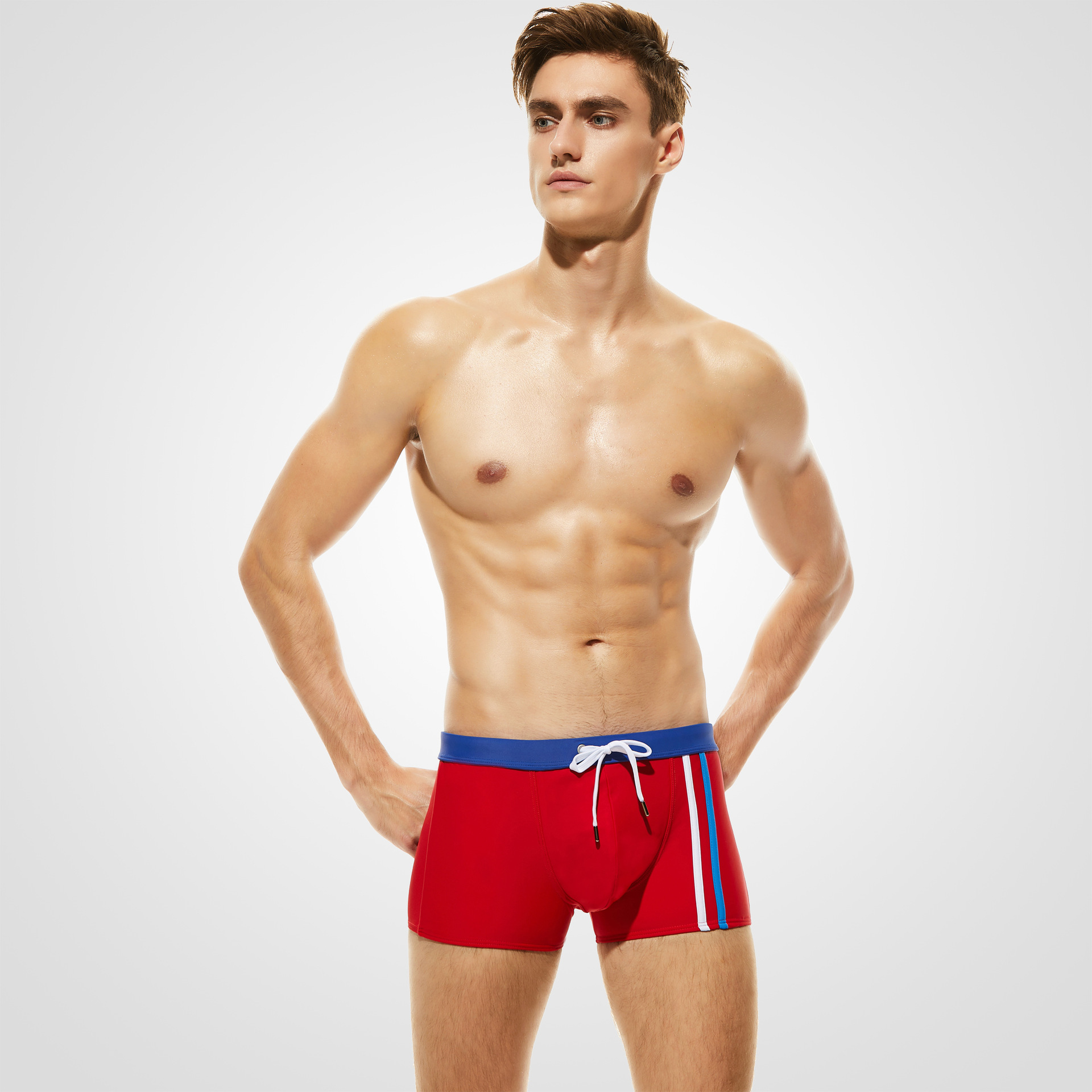 Europe And America MEN'S Swimming Trunks For Brand Boxer Swimming Trunks Stripes Beach Shorts Large Size Breathable Quick Drying