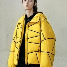 [11,11] зимняя новая коллекция Желтая Женская куртка-пуховик с капюшоном на белом утином пуху