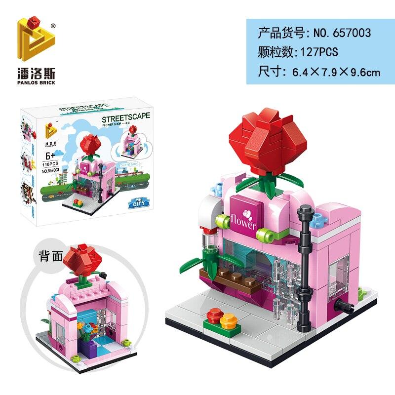 Mini Lego City Street View Block Retail Store Restaurant DIY Building Blocks Compatible lego technic Tech Building kids Toys - Цвет: 657003