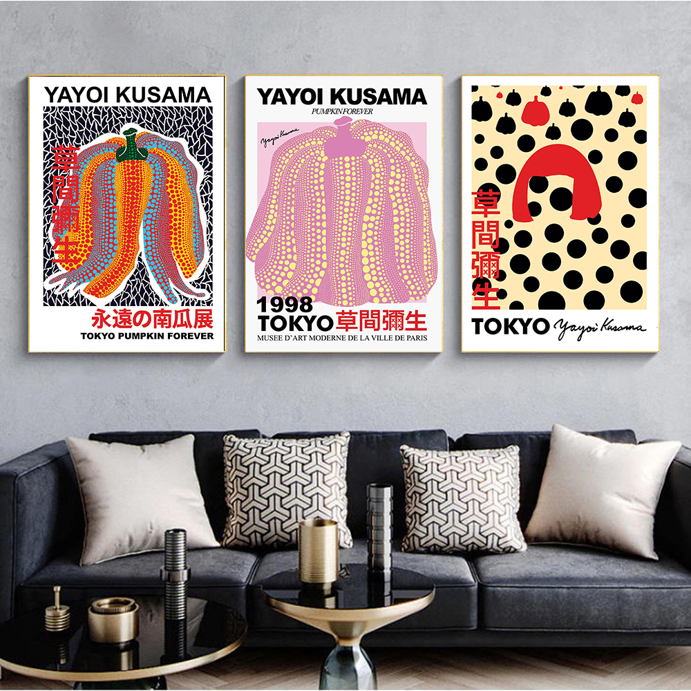 Yayoi Kusama Modern Exhibition Posters and Prints Japanese Wall Art Pictures Museum Canvas Painting for Living Room Home Decor