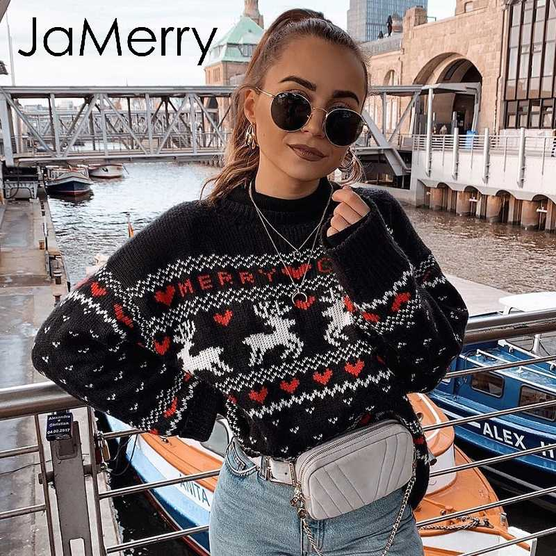 JaMerry Vintage merry christmas sweaters women long sleeve Autumn winter deer print knitted female pullover Chic top jumper