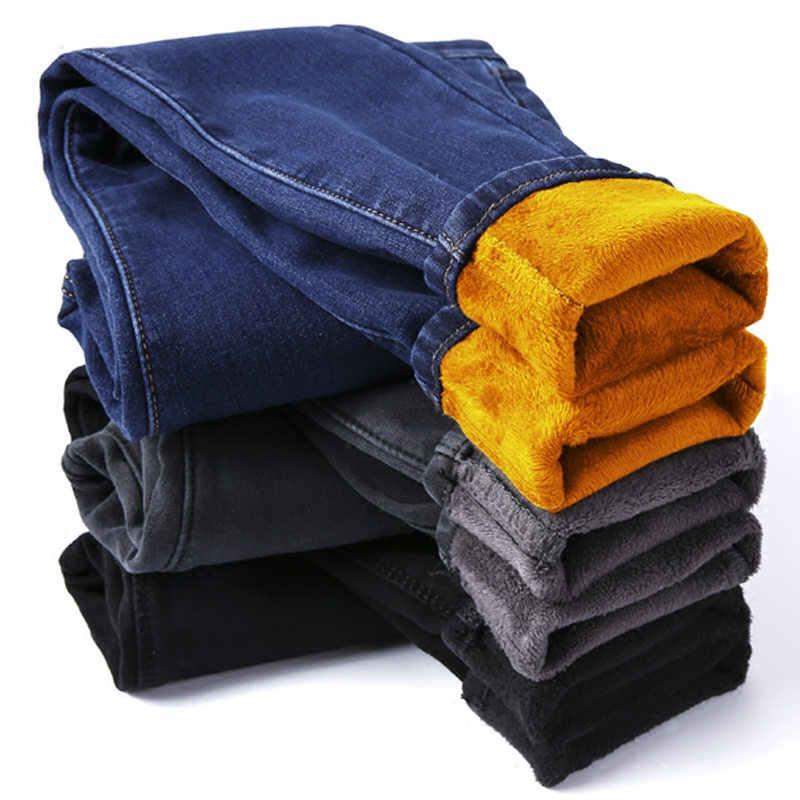 Otoño Invierno más terciopelo grueso mujer pantalones vaqueros largos lápiz mujeres caliente alta cintura Denim mamá Jeans elástico negro Jeans c5758